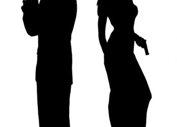 Secret Agent Female Male Pair Silhouettes