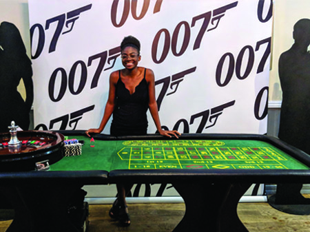 007 Back Drop and Roulette Table Props